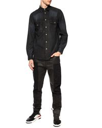 DIESEL Waxed Denim Shirt Black