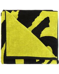 DIESEL Logo-embroidered Towel - Yellow