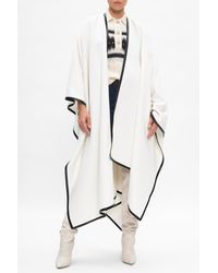 Balmain Poncho With Leather Trims Cream - Natural
