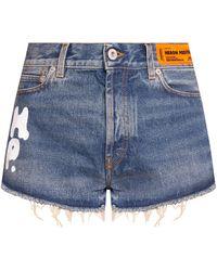Heron Preston Denim Shorts With Logo - Blue
