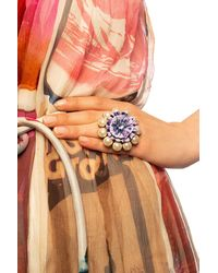 Dolce & Gabbana Ring With Hand-painted Flower - Purple