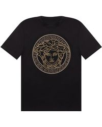 Versace T-shirt With Logo - Black