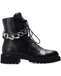 Giuseppe Zanotti Combat Boots With Chain Black