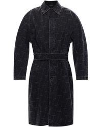 Balenciaga Washed-out Denim Coat Grey