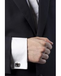 Lanvin Silver Cuff Links With Stone - Metallic