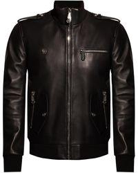 Philipp Plein Biker Jacket With Logo Black