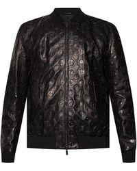 Giorgio Armani Leather Bomber Jacket - Black
