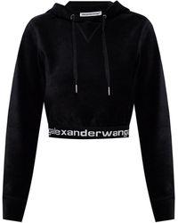 T By Alexander Wang Cropped Hoodie Black