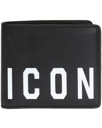 DSquared² Icon Print Classic Leather Wallet - Black