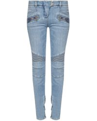 Balmain Biker Jeans With Zippers - Blue