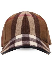 Burberry Checked Baseball Cap Unisex Beige - Natural
