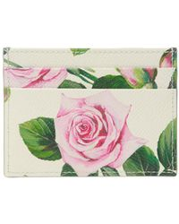 Dolce & Gabbana Off-white Floral Dg Card Holder - Green
