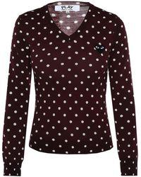 COMME DES GARÇONS PLAY Polka Dot Sweater Burgundy - Purple