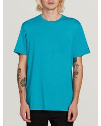 Volcom Heather Short Sleeve Pocket Tee - Blue