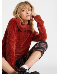 Volcom Cozy On Over Chenille Turtleneck Sweater - Red