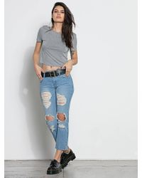 Volcom Straight & Destroy Jeans - Heavy Worn Faded - 24 - Blue