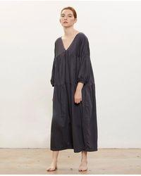 Black Crane Puff Jumpsuit / Faded Black