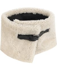 V.sp Reversible Shearling Neckwarmer With Buckle - White