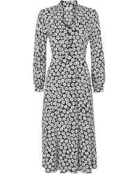 Wallis Petite Black Floral Print Tie Neck Midi Dress - Blue