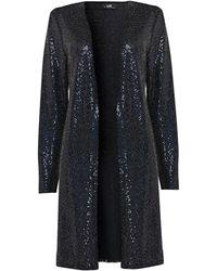 Wallis Navy Shimmer Sequin Jacket - Blue