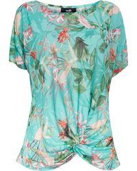 Wallis Blue Tropical Print Burnout Top