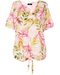 Wallis Pink Tropical Tie Front Cold Shoulder Top
