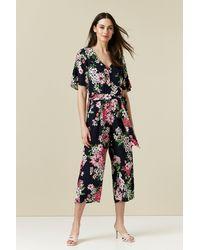 Wallis Navy Floral Print Jumpsuit - Blue