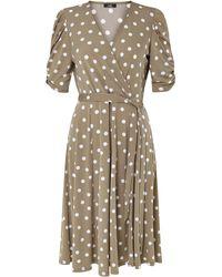 Wallis Taupe Polka Dot Midi Dress - Multicolour