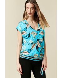 Wallis **tall Turquoise Leaf Print Top - Blue
