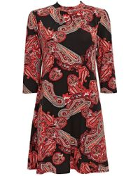 Wallis - Petite Red Paisley Print Shift Dress - Lyst