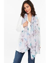 Wallis - Lilac Lily Floral Print Scarf - Lyst
