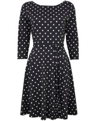 Wallis - Petite Black And Taupe Polka Dot Dress - Lyst