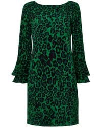 Wallis - Green Animal Print Flute Sleeve Shift Dress - Lyst