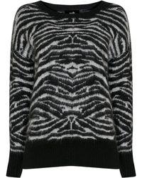 Wallis Monochrome Animal Print Jumper - Black