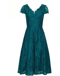 Wallis **jolie Moi Teal Cap Sleeve Lace Fit And Flare Dress - Blue