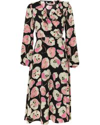 Wallis Black Floral Print Wrap Midi Dress
