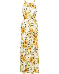 Wallis Ivory Floral Print Pleated Maxi Dress - Multicolour