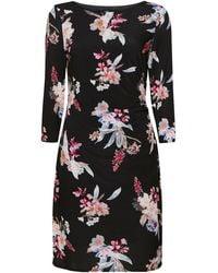Wallis Pink Floral Print Ruched Side Dress - Black
