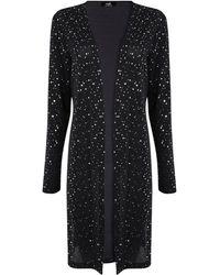 Wallis Black Sequin Longline Jacket