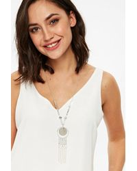 Wallis - Silver Finish Glitter Lariat Necklace - Lyst