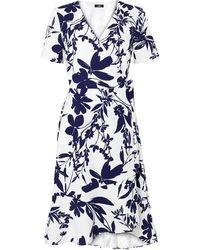Wallis Cream Floral Print Short Sleeve Wrap Dress - Blue