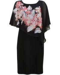 Wallis - Black Floral Print Overlay Dress - Lyst