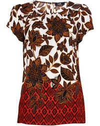 Wallis **tall Ivory Aztec Border Shell Top - Red