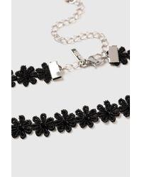Wallis - Black Flower Choker Necklace - Lyst