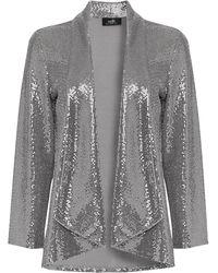 Wallis Silver Sequin Relaxed Fit Blazer - Metallic