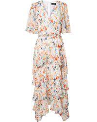 Wallis Cream Watercolour Floral Print Midi Dress - Natural
