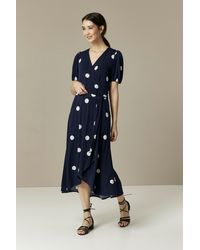 Wallis Navy Polka Dot Puff Sleeve Midi Wrap Dress - Blue