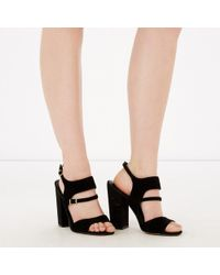 Warehouse - Suede Buckle Heeled Shoe - Lyst