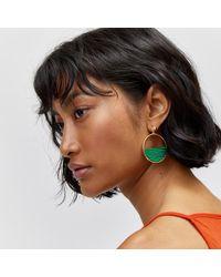 Warehouse - Green Half Circle Earrings - Lyst
