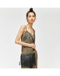 Warehouse - Leather Fringe Crossbody Bag - Lyst